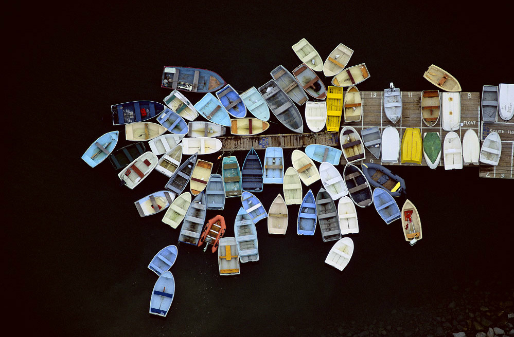 Dinghies-Clustered-Around-Dock---Duxbury-Massachusetts