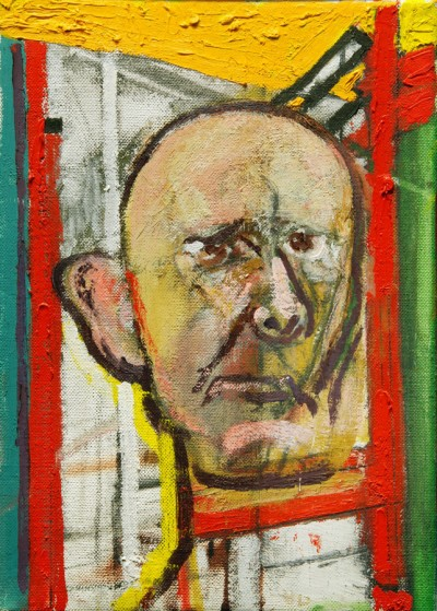 William-Utermolhen-Self-Portrait-with-Easel-1998-huile-sur-toile-35.5x25cm
