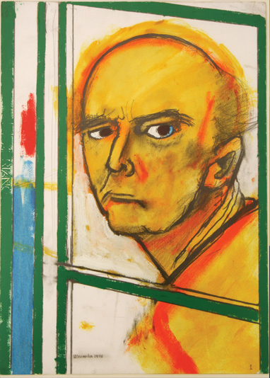 William-Utermolhen-Self-Portrait-with-Easel-Yellow-and-Green-1996-huile-sur-toile-46x35cm